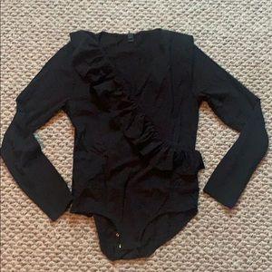 NWOT Jcrew Ruffle-front wrap bodysuit